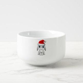 White Baby Bunny Wearing a Santa Hat Soup Mug