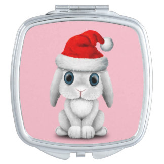 White Baby Bunny Wearing a Santa Hat Vanity Mirrors