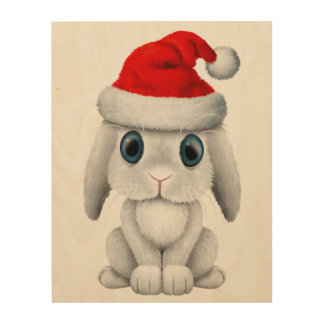 White Baby Bunny Wearing a Santa Hat Wood Print