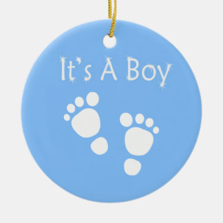White baby foot - It's a boy baby-shower Ceramic Ornament