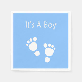 White baby foot - It's a boy  baby-shower Disposable Serviette