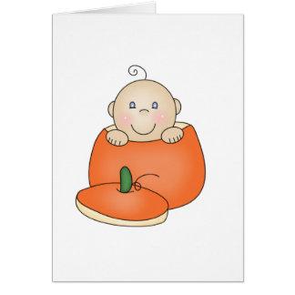 White Baby in Pumpkin Card
