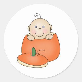 White Baby in Pumpkin Round Sticker