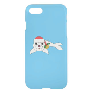 White Baby Seal with Santa Hat & Gold Bell iPhone 7 Case