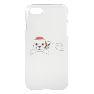 White Baby Seal with Santa Hat & Silver Bell iPhone 7 Case