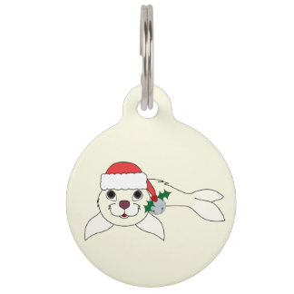 White Baby Seal with Santa Hat & Silver Bell Pet Name Tag