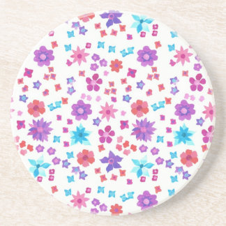 White Background Flower-Power Sandstone Coaster