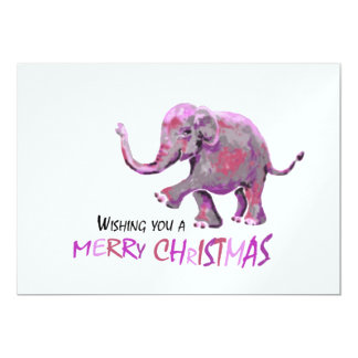 White Background Little Painted Elephant Xmas Card