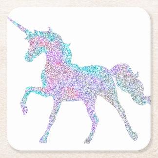 White Background Rainbow Color Unicorn Coaster
