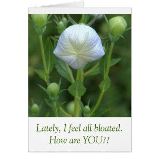 WHITE BALLOON FLOWER /HUMOROUS TEXT CARD