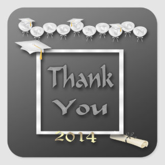 White Balloons Graduation Thank You envelope seal Stickers