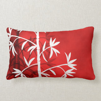 White bamboo red lumbar cushion