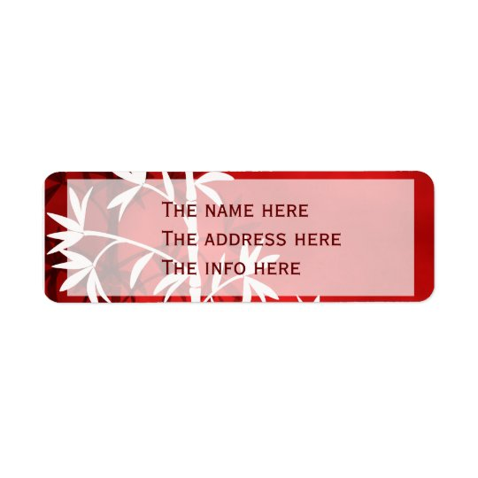 White bamboo red return address label