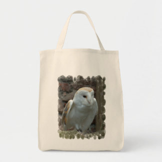 White Barn Owl  Grocery Tote Bag