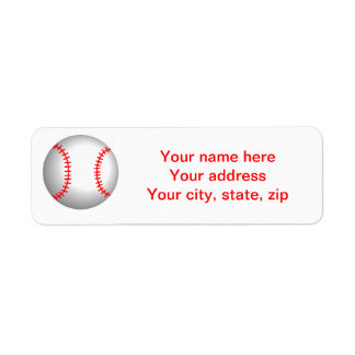 White Baseball Red Stitching Return Address Label