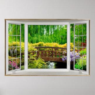 White Bay Window Illusion - Colourful Scenery Poster
