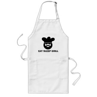 White BBQ apron for men | Eat Sleep Grill