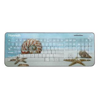 White Beach and Seashells Wireless Keyboard