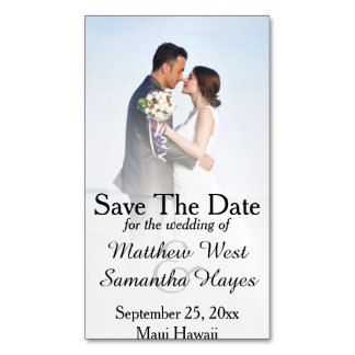 White Beach Mist Photo Wedding Save The Date Magnetic Business Cards