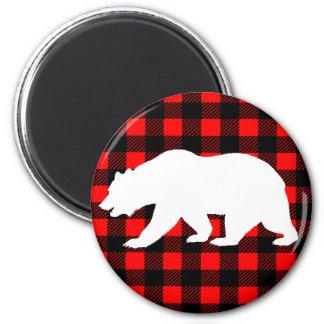 White Bear & Rustic Black Red Buffalo Check Plaid Magnet