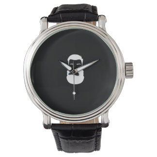 White Beard Black Leather Strap Watch