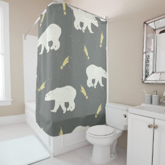 White bears and falling starts - Christmas gifts Shower Curtain