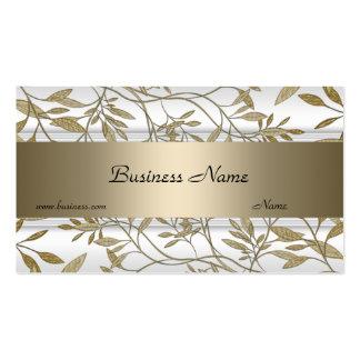 White Beige Floral Elegant Business Card 3