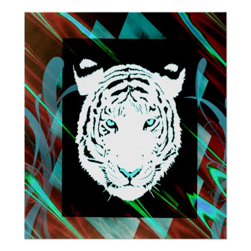White Bengal Tiger On A  Southwest Style Backgroun Print