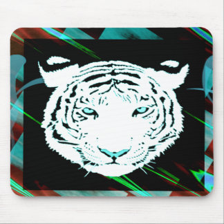 White Bengal Tiger On A Southwest Style Background Mouse Pad