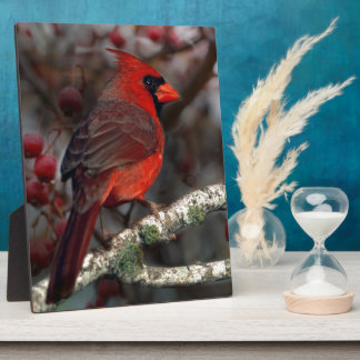 White Berries Primitive Christmas Red Cardinal Plaque