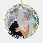 White Berry Framed Wedding Photo with Custom Text Ceramic Ornament