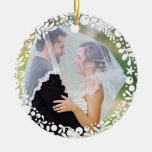 White Berry Framed Wedding Photo with Custom Text Round Ceramic Decoration