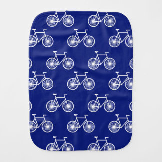 White Bicycle, Cycling Pattern; Dark Blue Burp Cloths