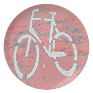 White Bicycle Red Street, Traffic Sign Bicycles Dinner Plates