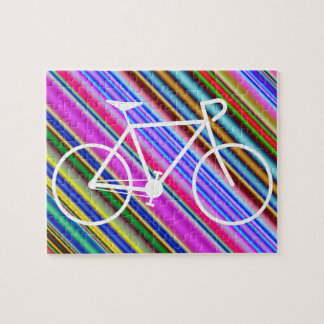 White Bicycle Silhouette Shape, Multicolored Lines Jigsaw Puzzle
