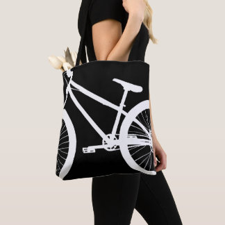 White Bike Silhouette Custom Colour Tote Bag