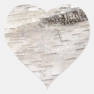 White Birch Bark Heart Sticker
