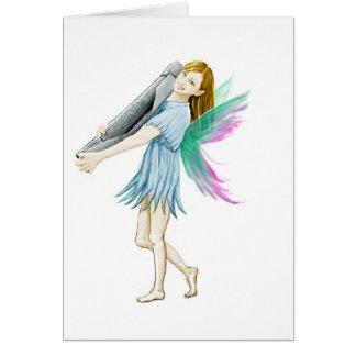 White Birch Tree Fairy Carrying Bark Card