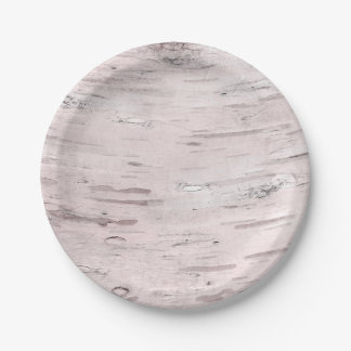 White Birch Tree Wood Rustic Barn Wedding Party Paper Plate
