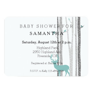 White Birch Trees with Deer and Birds baby shower 13 Cm X 18 Cm Invitation Card