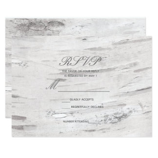 White Birch Wood Rustic Barn Country Wedding RSVP Card