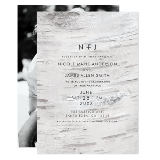 White Birch Wood Rustic Barn Modern Photo Wedding Card