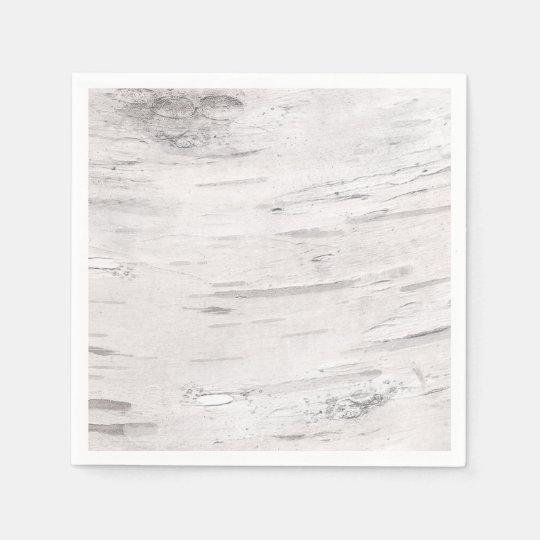 White Birch Wood Rustic Country Barn Wedding Disposable Serviette