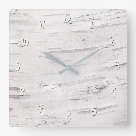 White Birch Wood Rustic Country Farmhouse Barn Square Wall Clock