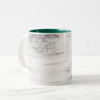 White Birch Wood Rustic Country Farmhouse Barn Two-Tone Coffee Mug