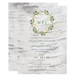 White Birch Wood Rustic Country Wreath Wedding Card