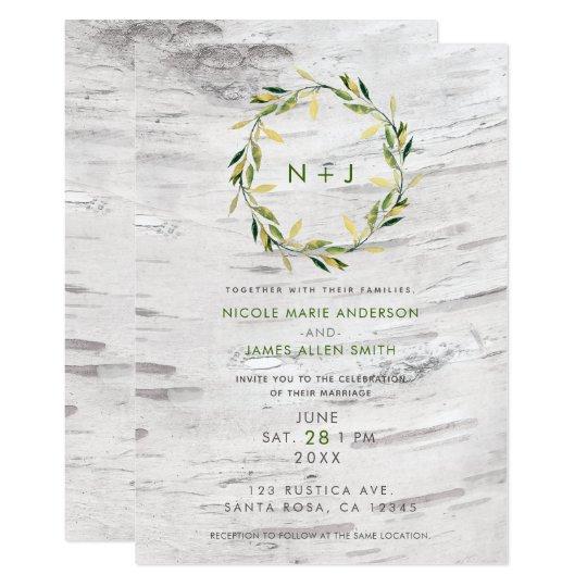 White Birch Wood Rustic Country Wreath Wedding Card