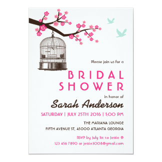 White Bird Cage Floral Bridal Shower Invitation
