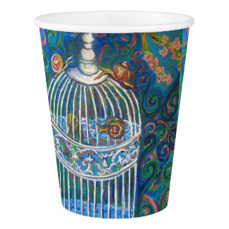 white bird cage paper cup