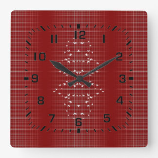 White Birds And Lines On Red Square Wall Clock